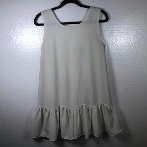 Lulu's L White Sleeveless Ruffle Hem Shift Dress
